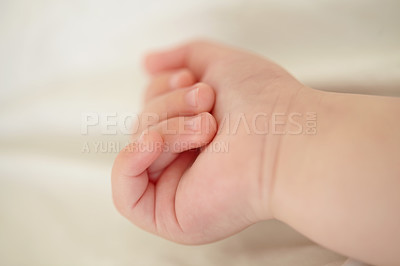 Buy stock photo Cropped image of a baby's hand