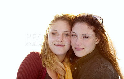 Buy stock photo Outdoor portrait of two sister's outside