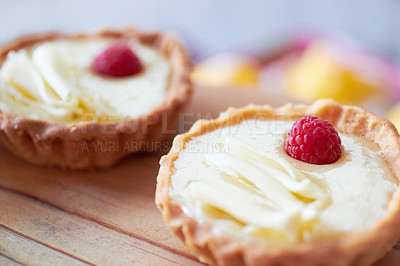 Buy stock photo Cropped shot of two delicious mini tarts