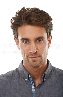Buy stock photo Portrait of a handsome young man against a white background