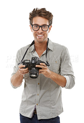 Buy stock photo Portrait of a handsome young photographer with his camera around his neck