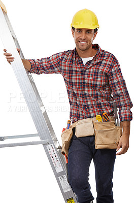 Buy stock photo Shot of a handyman climbing his ladder