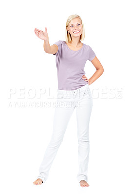 Buy stock photo Pretty young woman isolated on white presenting something to you