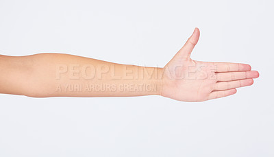 Buy stock photo Cropped image of a hand reaching out and showing you their palm