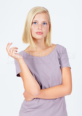 Buy stock photo Pretty young woman isolated on white showing attitude