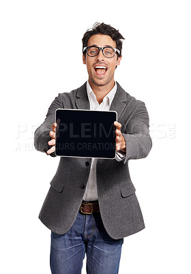 Buy stock photo Portrait of a handsome young man excitedly showing you his tablet