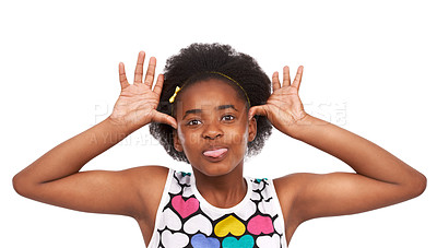 Buy stock photo Studio portrait of a young african american girl teasing the camera isolated on white