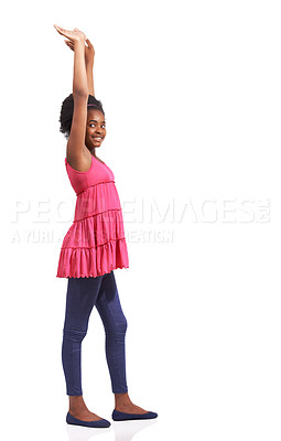 Buy stock photo Full length studio portrait of a young african american girl standing with her arms raised isolated on white