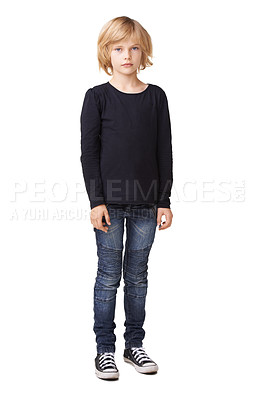 Buy stock photo Full body portrait of a pretty little girl standing against a white background