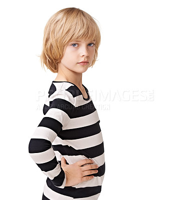 Buy stock photo Portrait of a pretty little girl standing profile with hands on hips against a white background