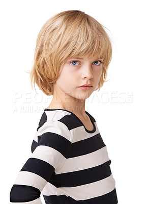 Buy stock photo Portrait of a pretty little girl standing with hands on hips against a white background
