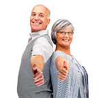 Elderly couple showing thumbs up sign together over white backgr