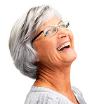 Closeup of cheerful retired woman laughing on white background