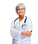 A confident female doctor isolated over white background