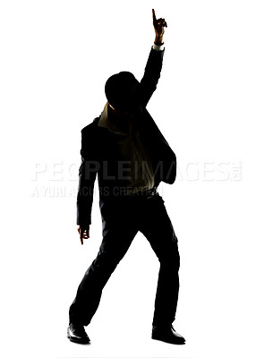 Buy stock photo Silhouette image of a young male superstar dancing against white background