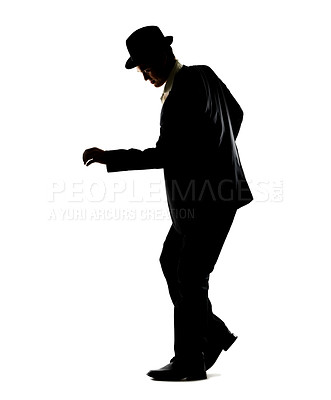 Buy stock photo Silhouette of a young guy dancing against white background