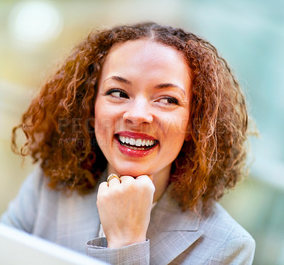 Buy stock photo Pretty young business woman smiling while at work