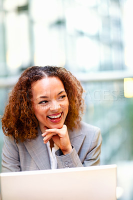 Buy stock photo Lovely young African American business woman enjoying her self at work