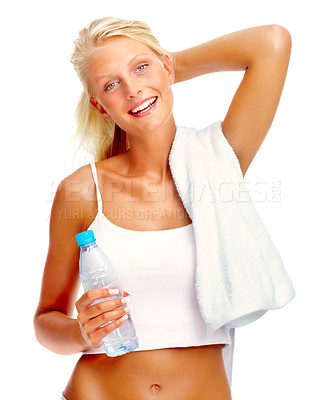 Buy stock photo Portrait of cute young woman with water bottle in hand and towel around her neck