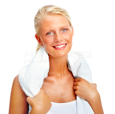 Buy stock photo Portrait of a cute young female holding a towel around her neck isolated on white