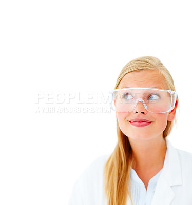Buy stock photo Closeup of a female researcher wearing glasses, looking at blank space