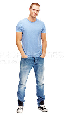 Buy stock photo Portrait of a casual young man smiling on white background