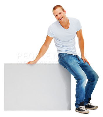 Buy stock photo Portrait of a smart young man with a blank white card