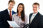 Businesswoman with her colleagues against white background