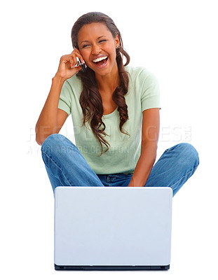 Buy stock photo Lovely young female using a laptop on white, enjoying a conversation on the mobile