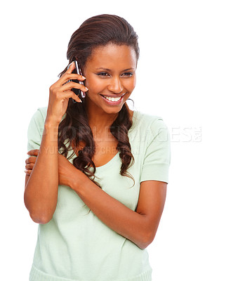Buy stock photo Attractive young female speaking on the mobile against white
