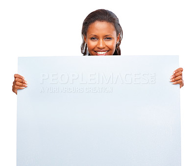 Buy stock photo Portrait of an African American woman holding an empty billboard over white