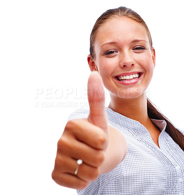 Buy stock photo Portrait of a pretty young female showing a success sign over white background