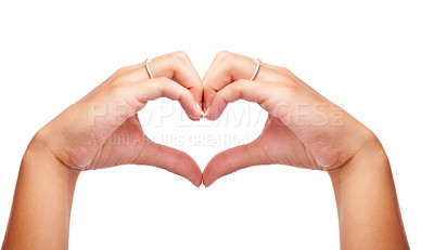 Buy stock photo Image of woman's hands made in the form of heart over white background