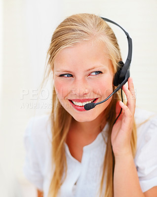 Buy stock photo Closeup portrait of a sweet happy call centre employee at work
