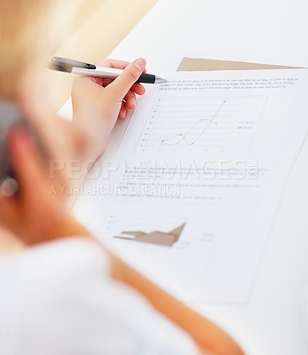 Buy stock photo Closeup of a business woman working on a graph, focus on her hands