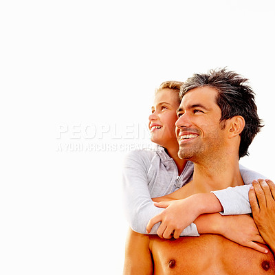 Buy stock photo Young girl embracing her father from the behind against a bright background
