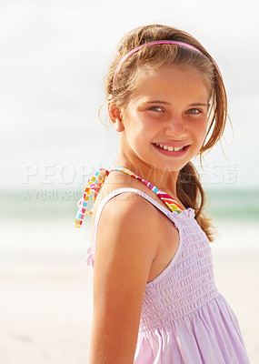 Buy stock photo Portrait of a happy young girl on the beach on sunny day