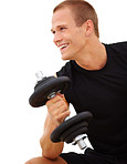 Young man working out using dumbbells on white