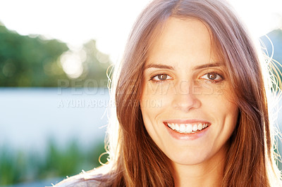 Buy stock photo Pretty young woman looking happy outdoor