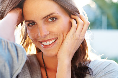 Buy stock photo Portrait of smiling young female model posing