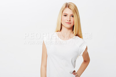 Buy stock photo A pretty young blonde isolated on a white background
