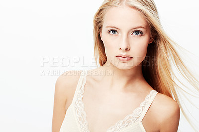Buy stock photo A stunning young blond isolated on a white background