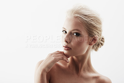 Buy stock photo Cropped portrait of a gorgeous young blonde woman