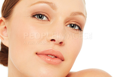 Buy stock photo Beauty shot of a young woman against a white background