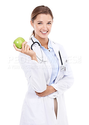 Buy stock photo Cropped portrait of an attractive female doctor holding up an apple