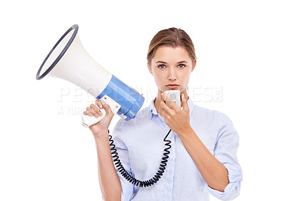 Buy stock photo Portrait of an attractive young woman holding a megaphone
