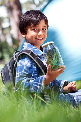 Buy stock photo Cute little boy collecting bugs in a jar with a smile