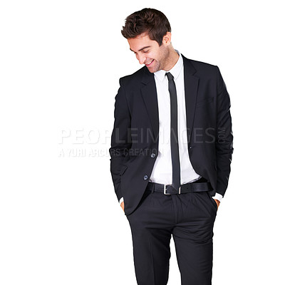 Buy stock photo Studio shot of a handsome man in a suit isolated on white