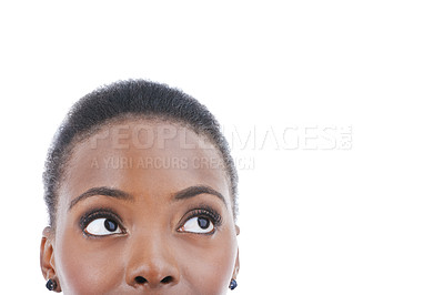 Buy stock photo Cropped studio shot of a young woman looking out of frame