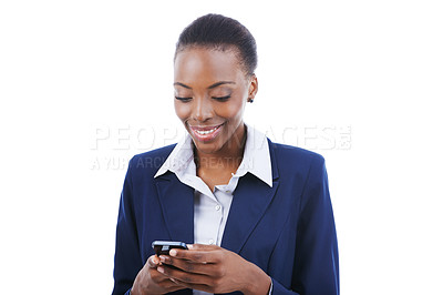 Buy stock photo Studio shot of a young businesswoman sending a text message isolated on white